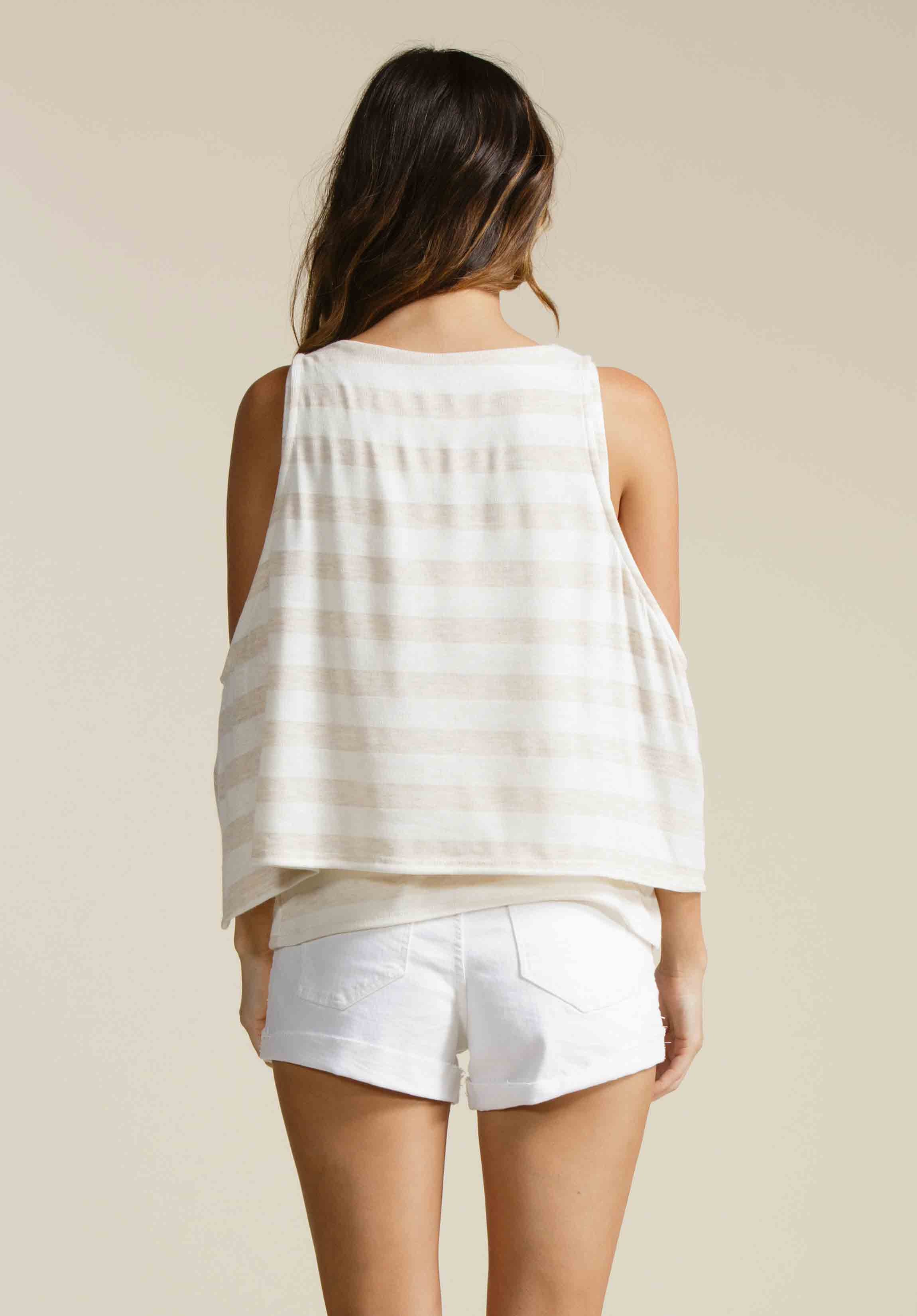 JORDAN COLD SHOULDER OVERLAY | BEIGE STRIPE