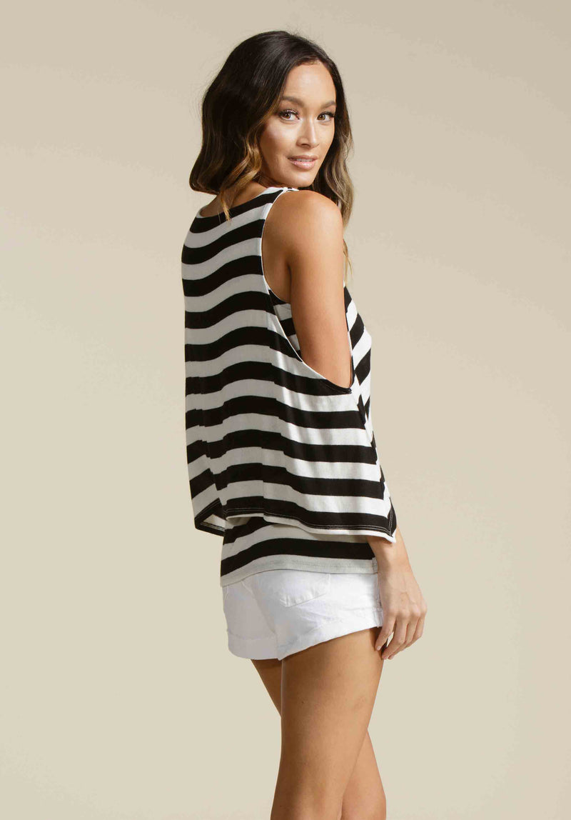 JORDAN COLD SHOULDER OVERLAY | BLACK/WHITE STRIPE