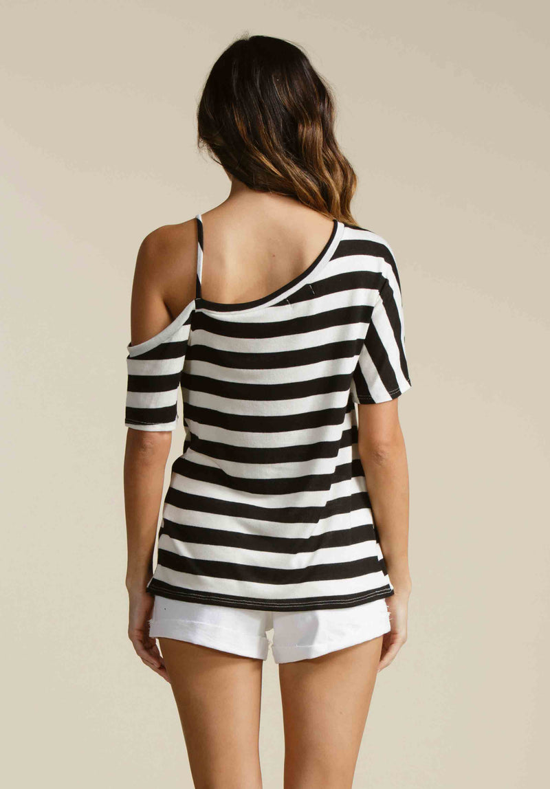 CARMEN ONE STRAP KNITTED TEE  | BLACK/WHITE STRIPE