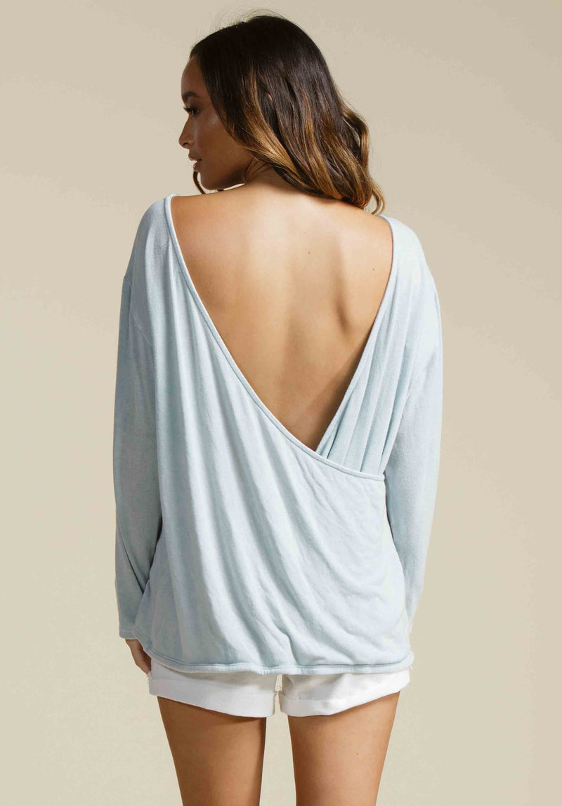 CATHERINE OPEN BACK KNIT SWEATER | SKY BLUE