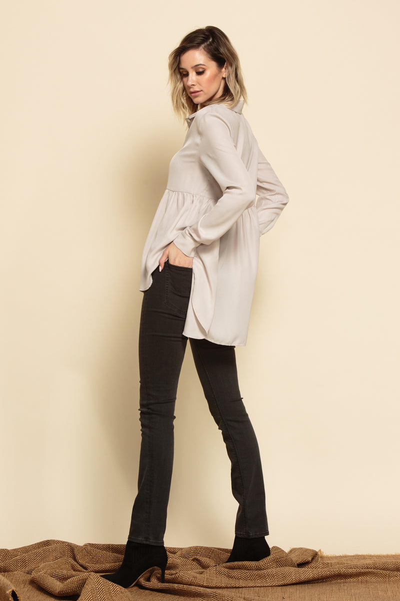 JESSICA PEPLUM BUTTON FRONT BLOUSE | BONE