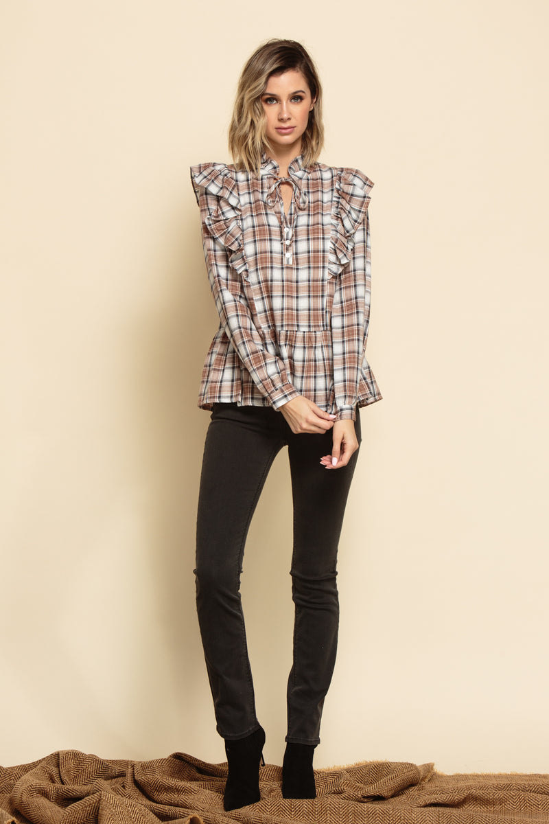 INDIANA RUFFLE PEPLUM BLOUSE | BROWN PLAID