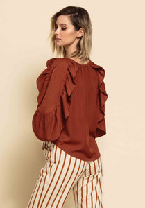 ELLIANA POP-OVER RUFFLE BLOUSE | CHESTNUT