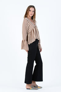 BAILEY RUFFLE BLOUSE | TAN AUBURN STRIPE