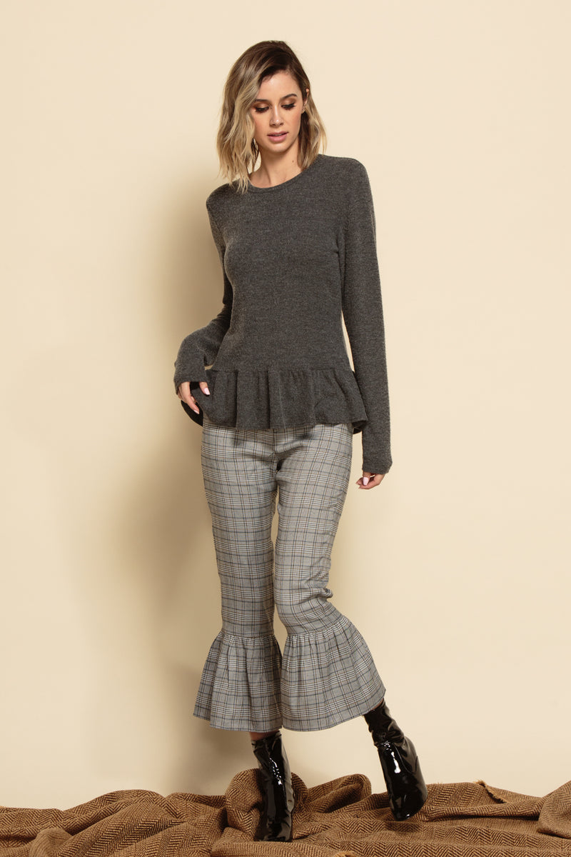 AMBER CROPPED PANTS | BLACK & WHITE PLAID