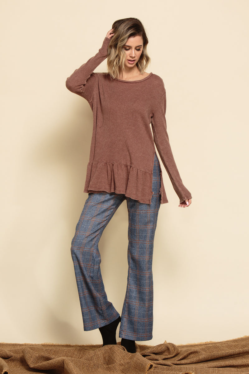 JOURNEY SIDE SLIT PEPLUM KNIT TUNIC | MAUVE THERMAL