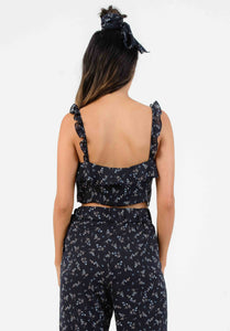 HYGEIA RUFFLE STRAP TOP | NAVY MINI FLORAL
