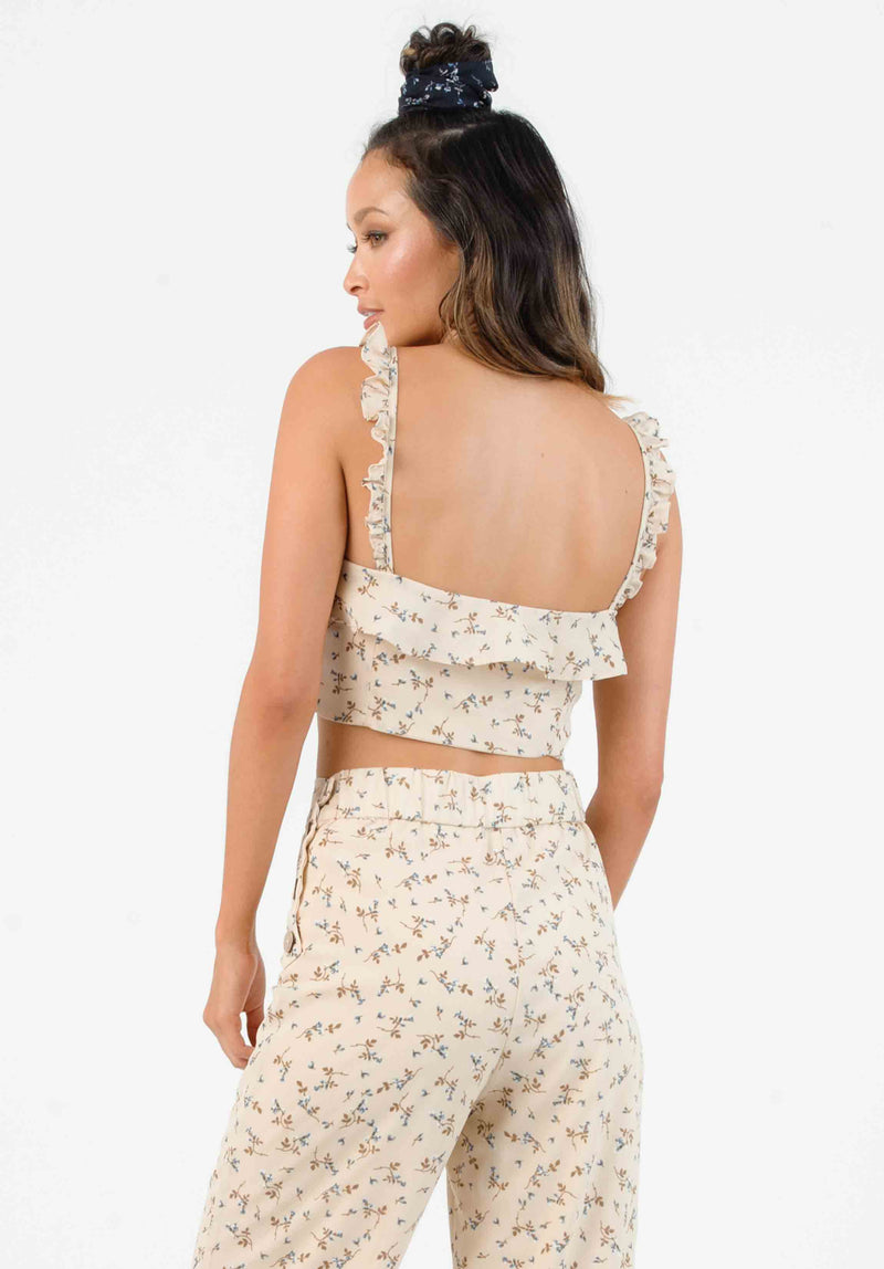 HYGEIA RUFFLE STRAP TOP | TAN MINI FLORAL
