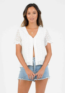 ORION TOP W/ PEDAL SLEEVES | WHITE EYELET