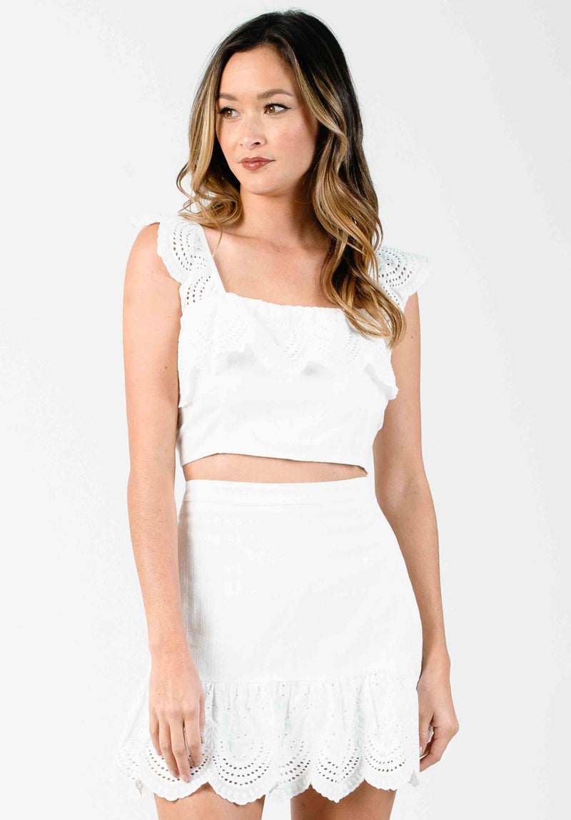 BLOSSOM MINI DRESS | WHITE BRUSH