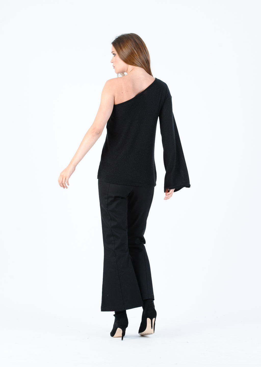 DOVE LONG SLEEVE ONE SHOULDER TOP | BLACK