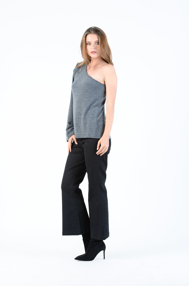 DOVE LONG SLEEVE ONE SHOULDER TOP | CHARCOAL