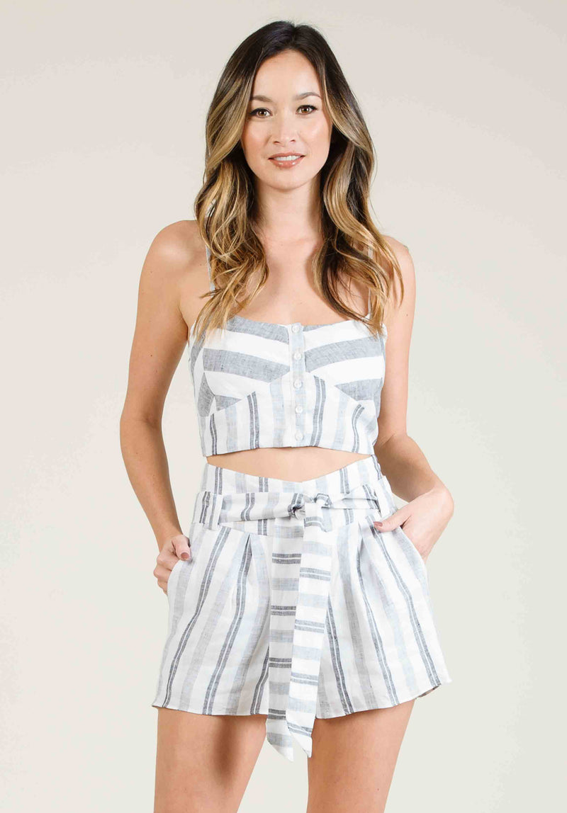 VINCENZA SWEETHEART CROP TOP | WHITE MULTISTRIPE