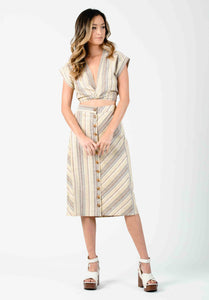 SAHARA BUTTON FRONT MIDI SKIRT | DESERT STRIPE