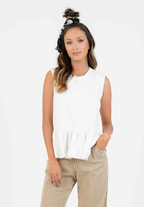 KEATON PEPLUM KNIT TOP | WHITE