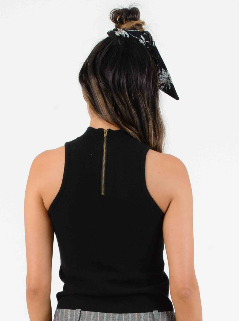 AVA TURTLENECK SLEEVELESS SWEATER | BLACK