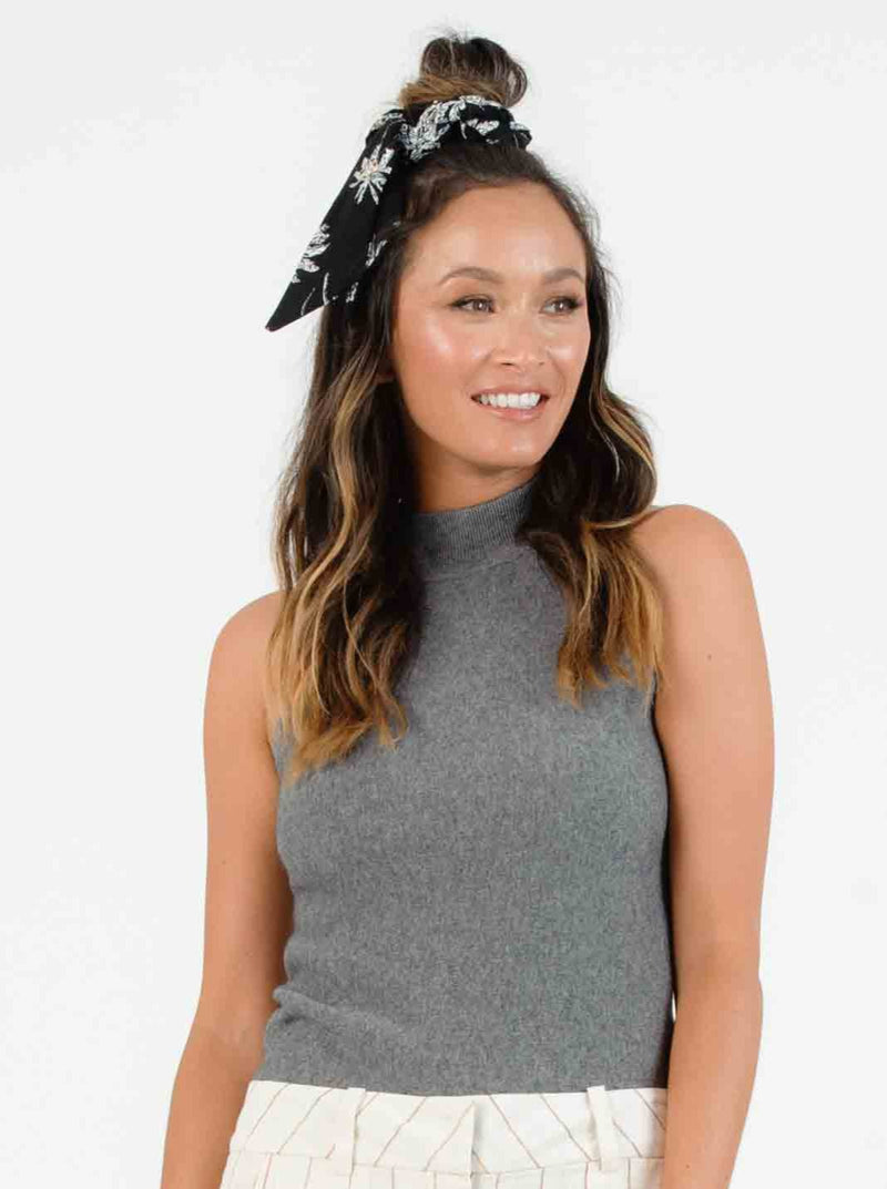 AVA TURTLENECK SLEEVELESS SWEATER | CHARCOAL