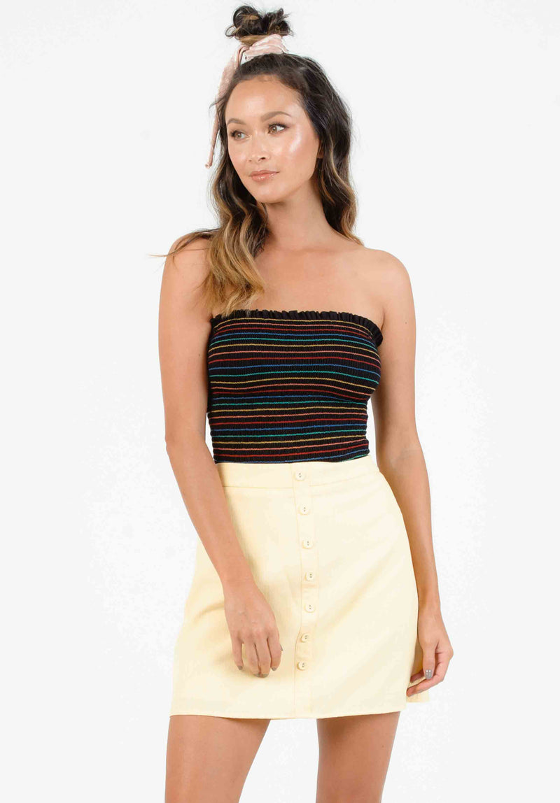 BLISS SMOCKED TUBE TOP | BLACK RAINBOW