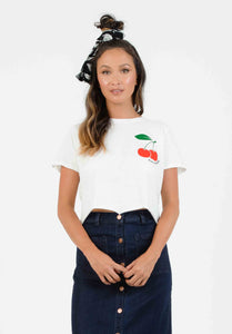 CHERRY BOMB EMBROIDERED CROP | WHITE