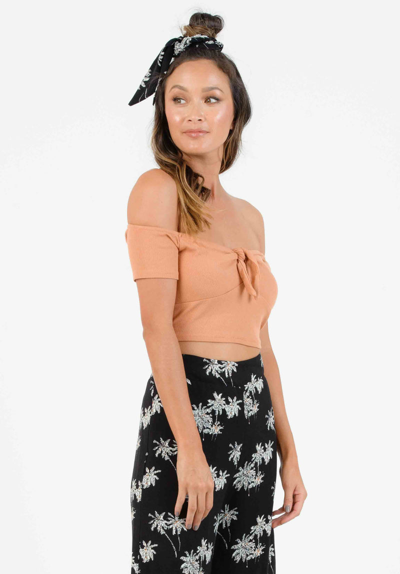 ROLLAND TIE FRONT CROP TOP | CARMEL