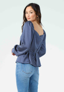 DAYNA PUFF SLEEVE BLOUSE | NAVY POLKA DOT