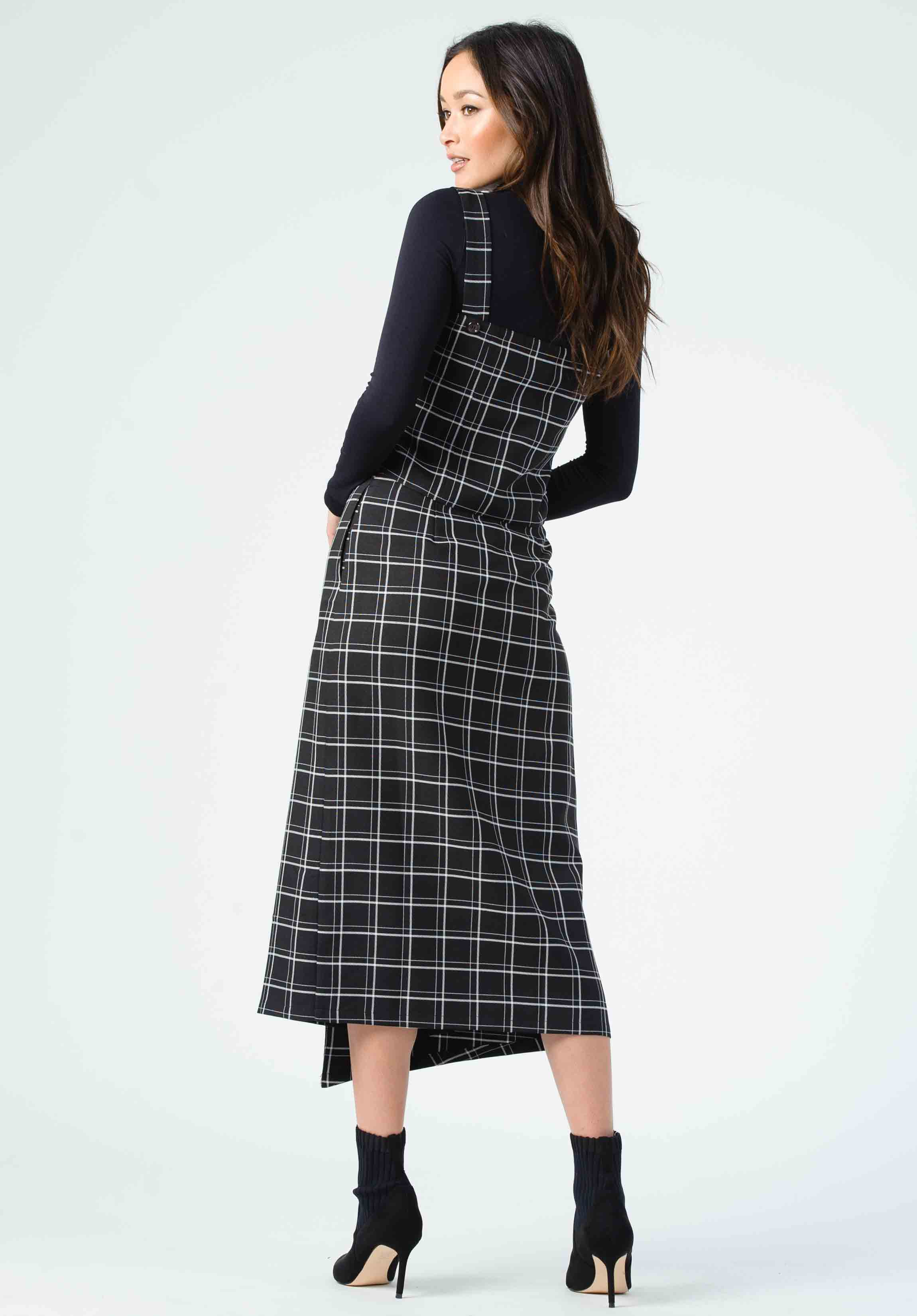 GLORI BUTTON FRONT MIDI SKIRT | BLACK PLAID