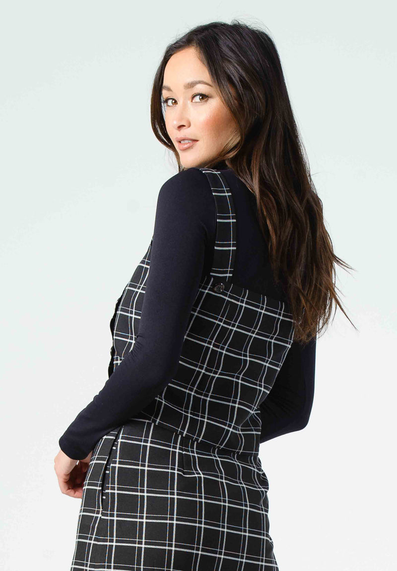 FENISHIA SQUARE NECK TOP | BLACK PLAID
