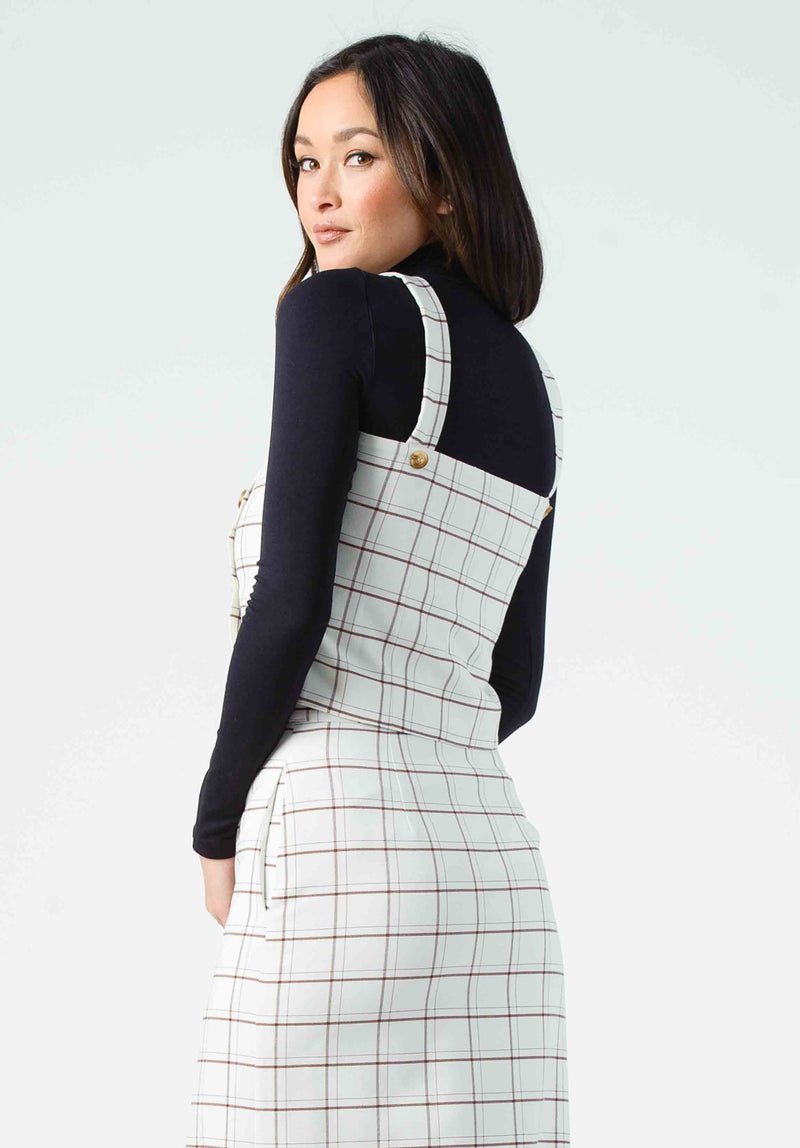 FENISHIA SQUARE NECK TOP | VANILLA PLAID
