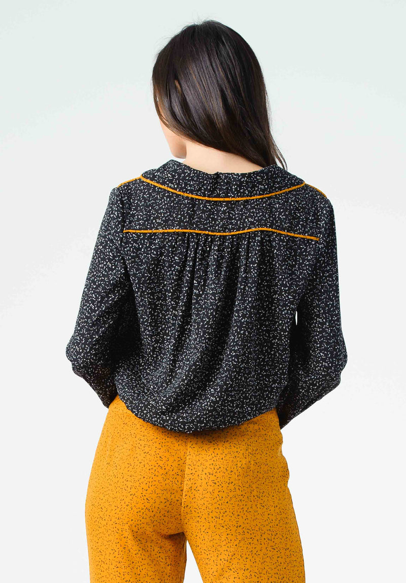 JANINE BUTTON FRONT BLOUSE | BLACK/WHITE SPECKLE