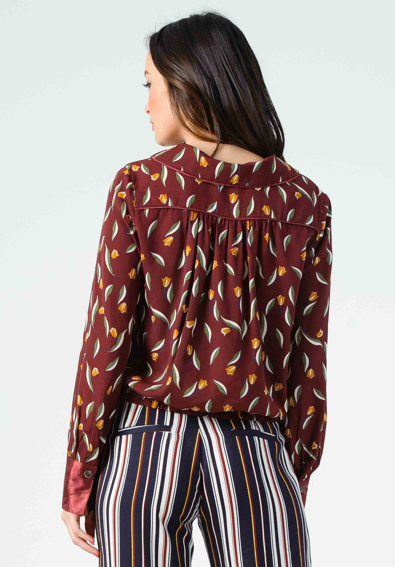 JANINE BUTTON FRONT BLOUSE | MAROON FLORAL