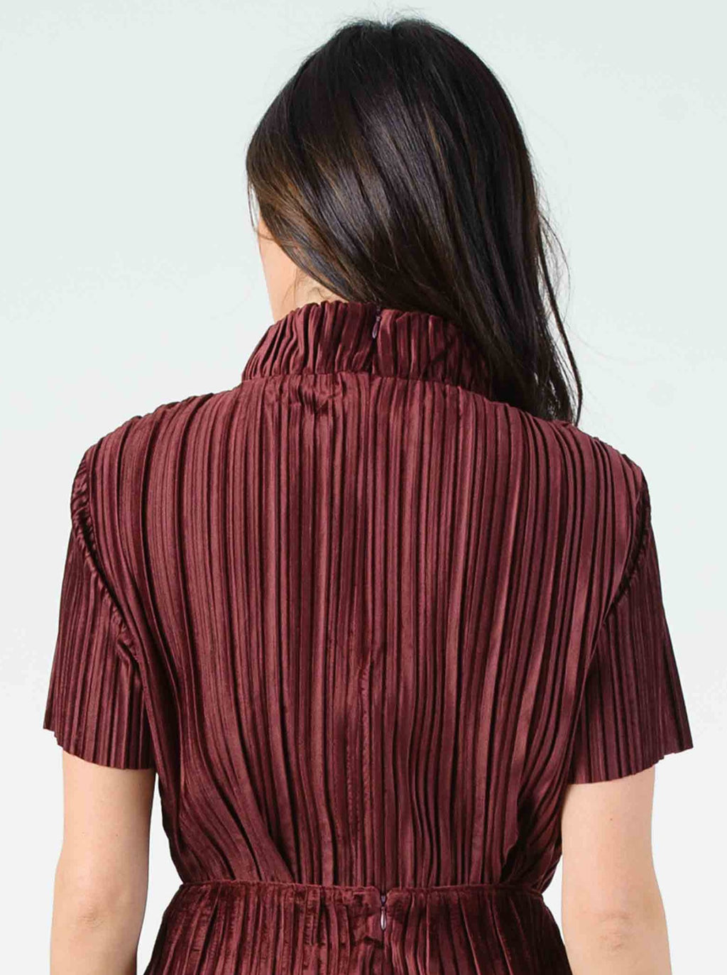 MARTY MOCK NECK TOP | BURGUNDY VELVET