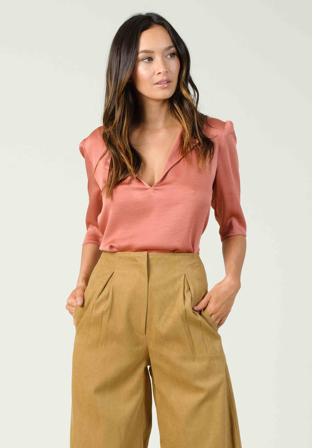 GRENACHE PUFF SLEEVE TOP | CINNAMON
