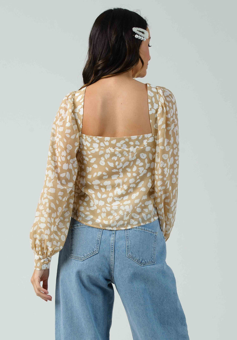 BUTTERCUP BALLOON SLEEVE TOP | BEIGE ANIMAL