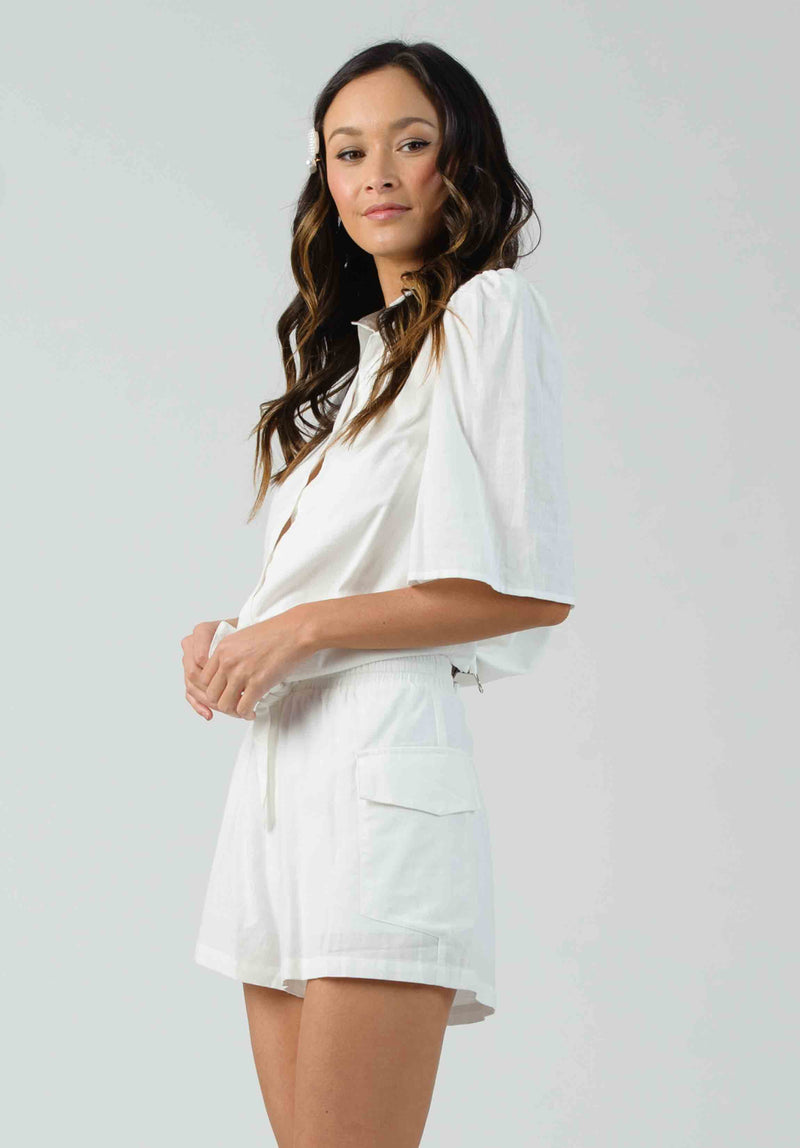 BLOSSOM TIE-FRONT COLLARED TOP | WHITE LINEN