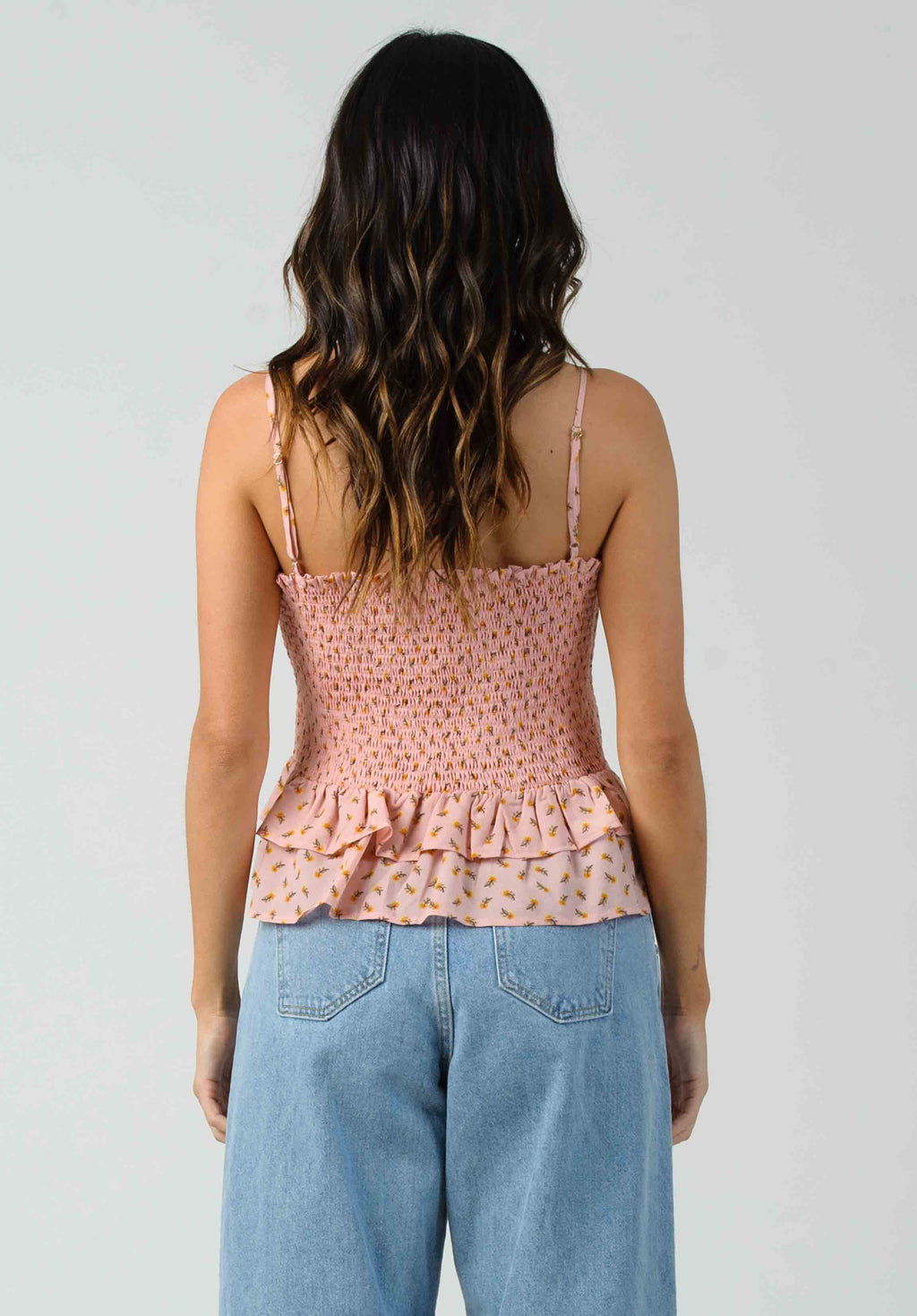 FLORENT PEPLUM SMOCKED TOP | PINK DAISY