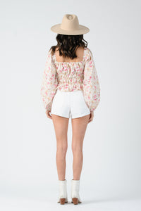 THE IVY PUFF SLEEVE SQ NK TOP | CREAM FLORAL, WHITE, BALLET PINK,