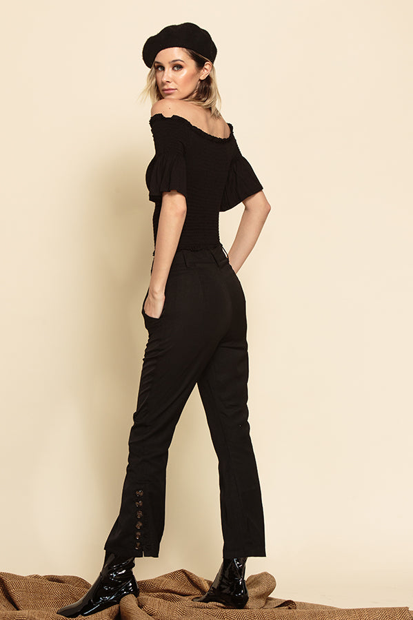 RYLIE CROPPED PANTS WITH BUTTON SIDE SLIT HEM | EBONY