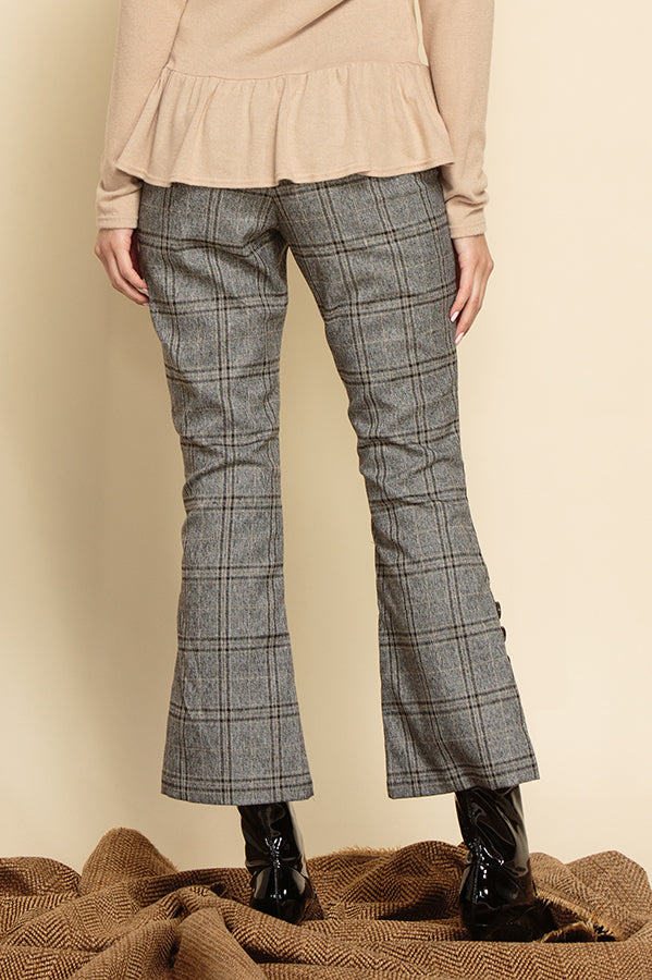 RYLIE CROPPED PANTS WITH BUTTON SIDE SLIT HEM | PEPPER PLAID