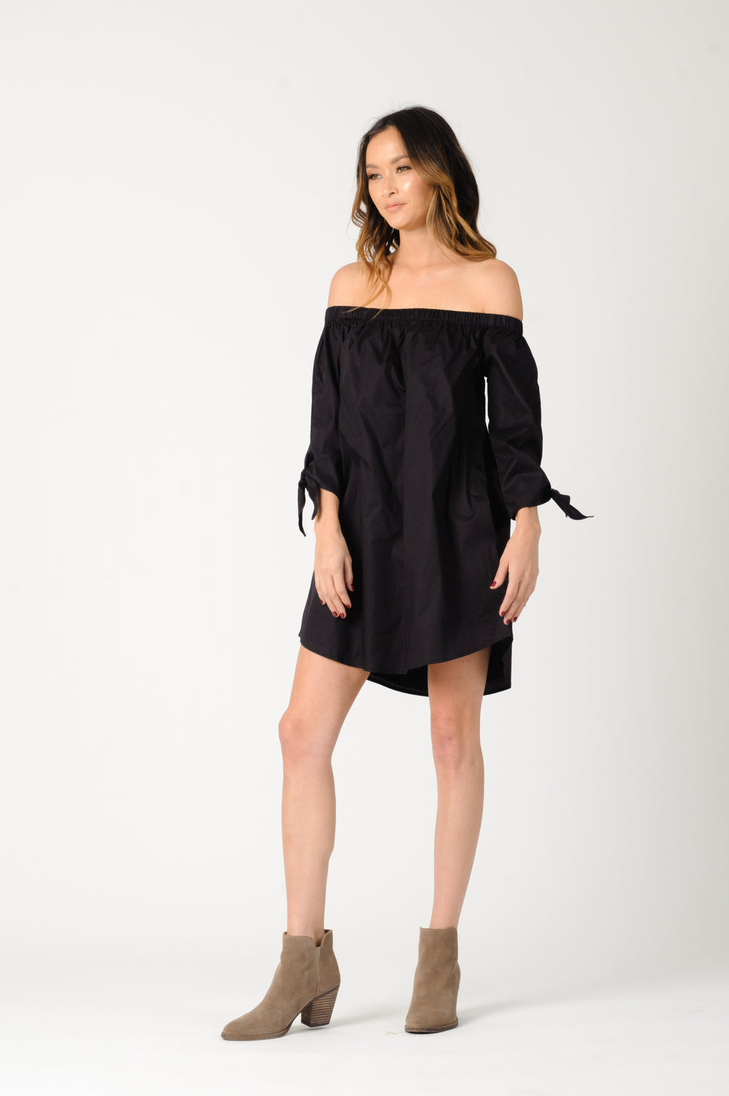 ELIANA OFF SHOULDER DRESS | BLACK