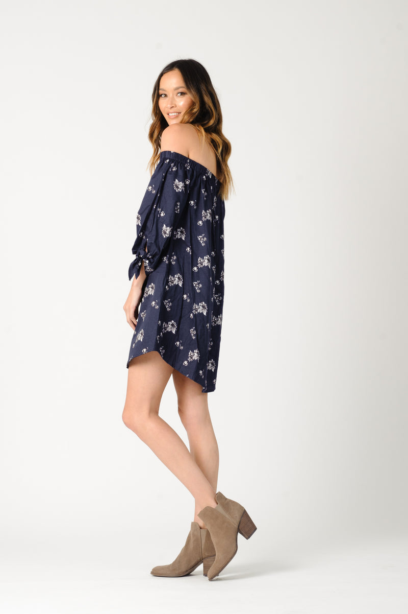 ELIANA OFF SHOULDER DRESS | NAVY FLORAL