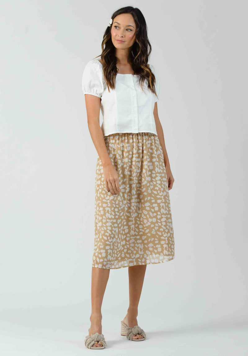 ADELE BUTTON FRONT MIDI SKIRT | STONE