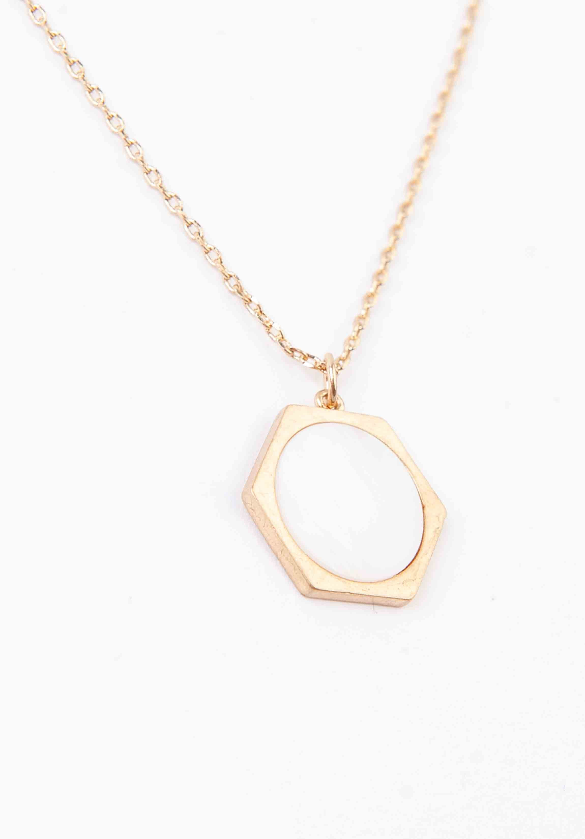 HEXAGONAL MARBLE PENDANT NECKLACE | GOLD