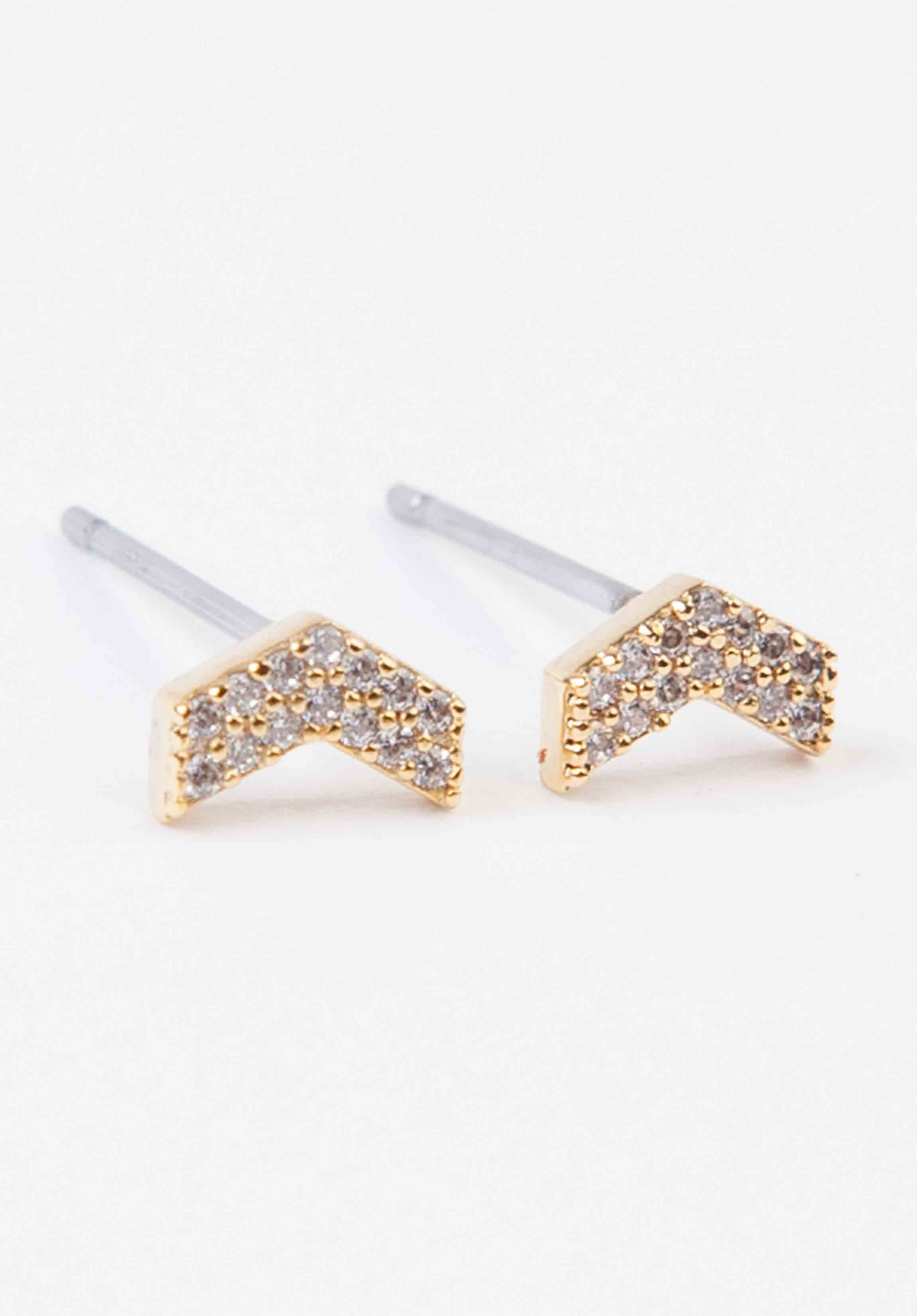 STUDDED TINY ARROW EARRINGS | GOLD