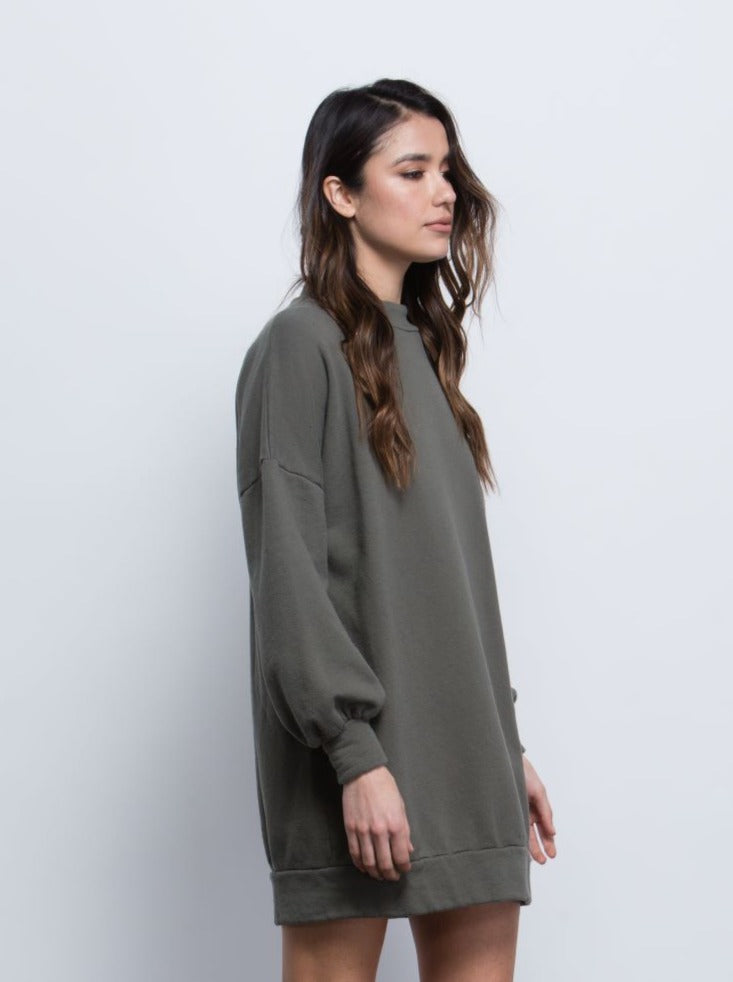 Bethany OLIVE French Terry Sweatshirt Dress with Bishop Sleeves.