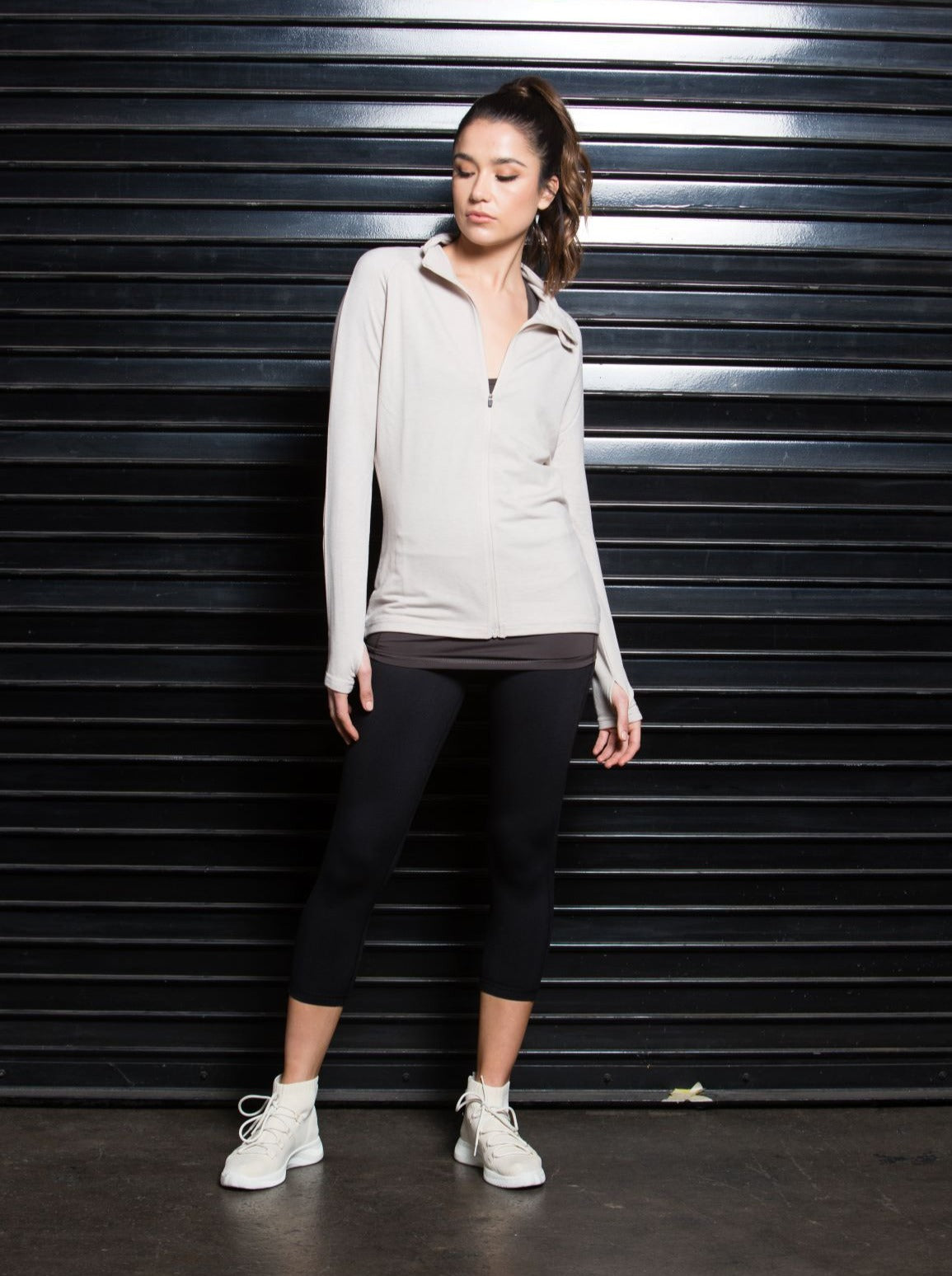 FANNY TAUPE ZIP UP SPORTS JACKET