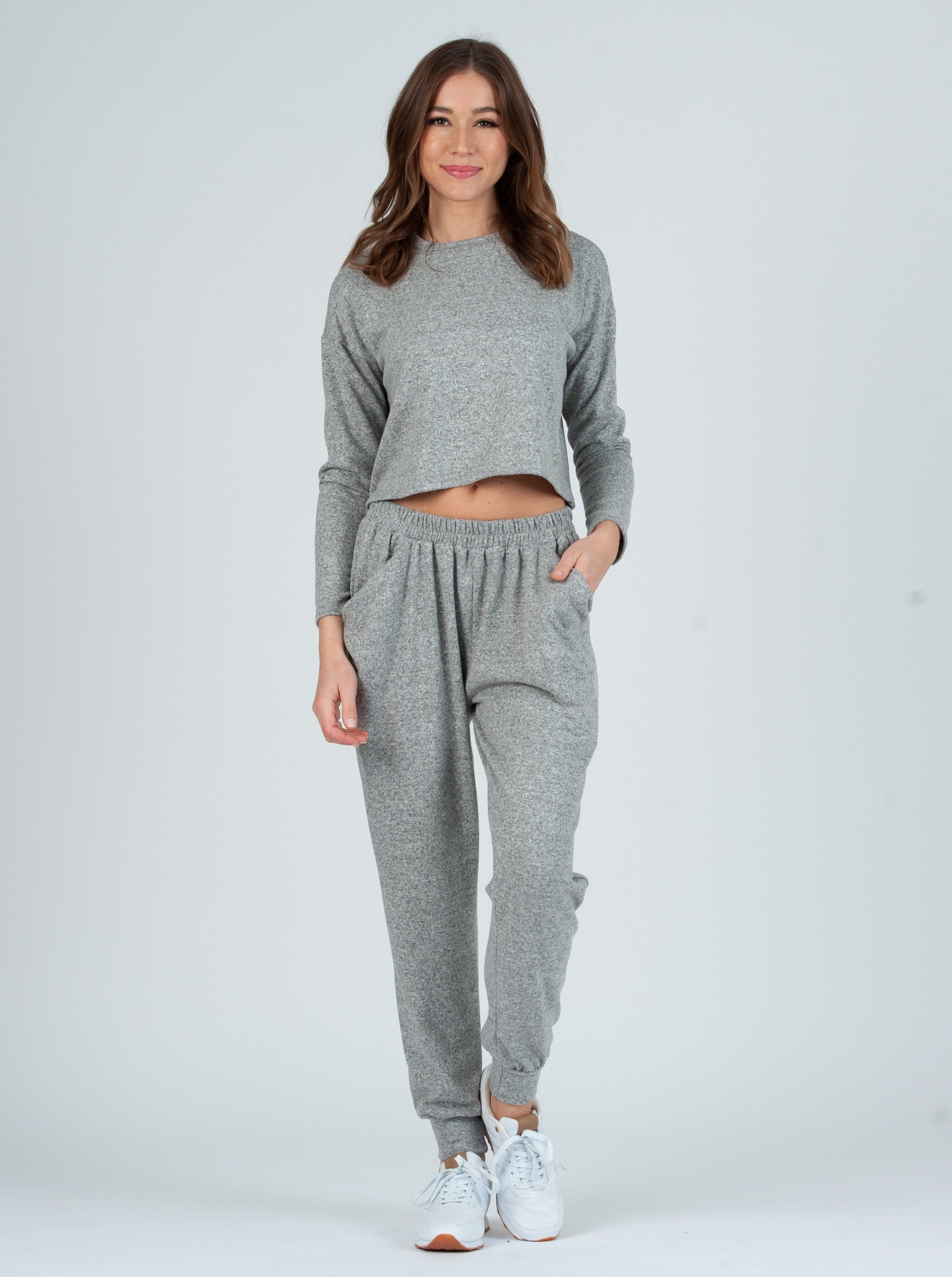 ELIDA PEPPER GRAY DRAPE POCKET JOGGER SET