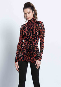 ALVIN TURTLENECK TOP | RED LEOPARD