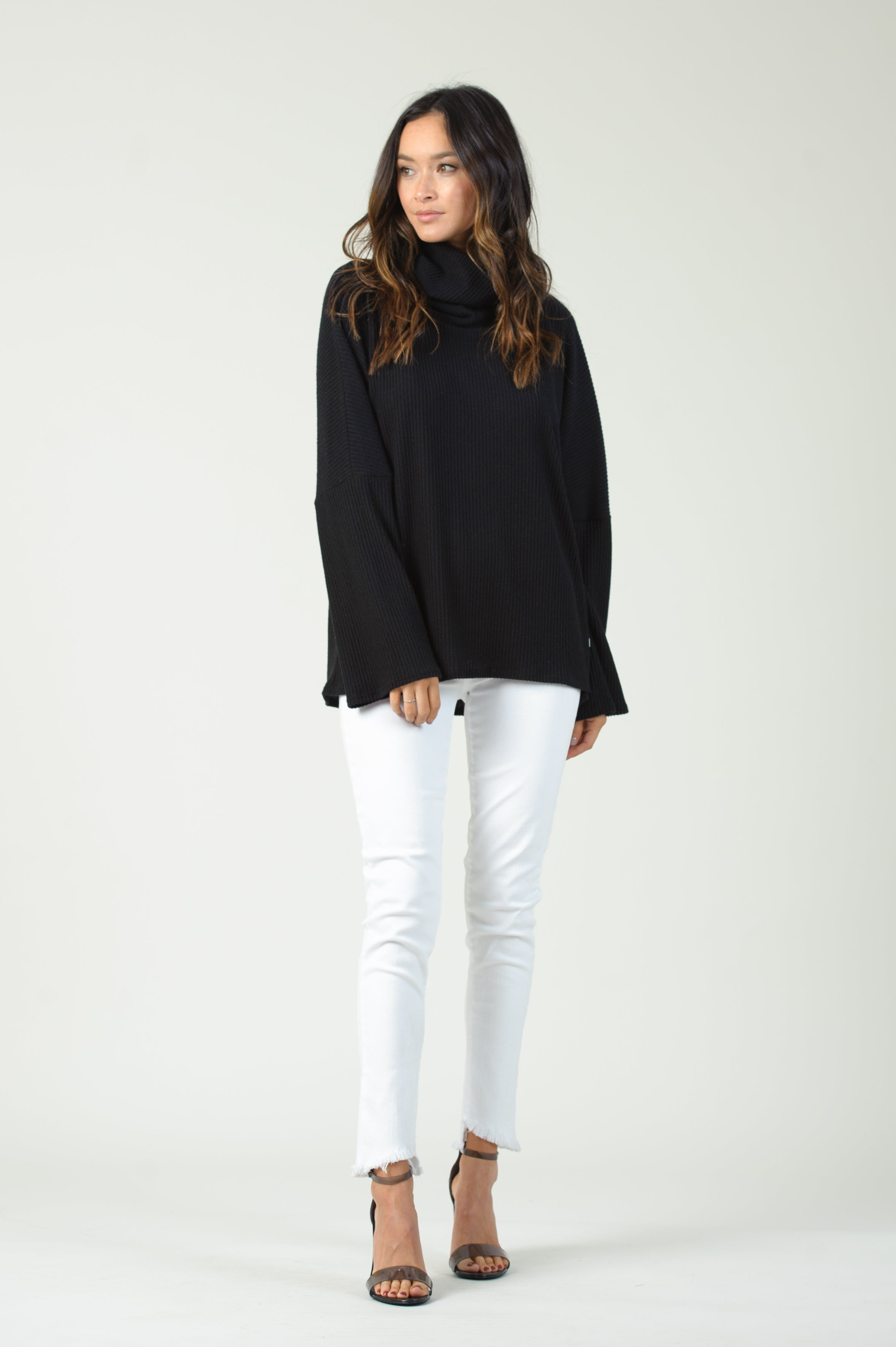 RIB TURTLENECK LONG SLEEVE TOP