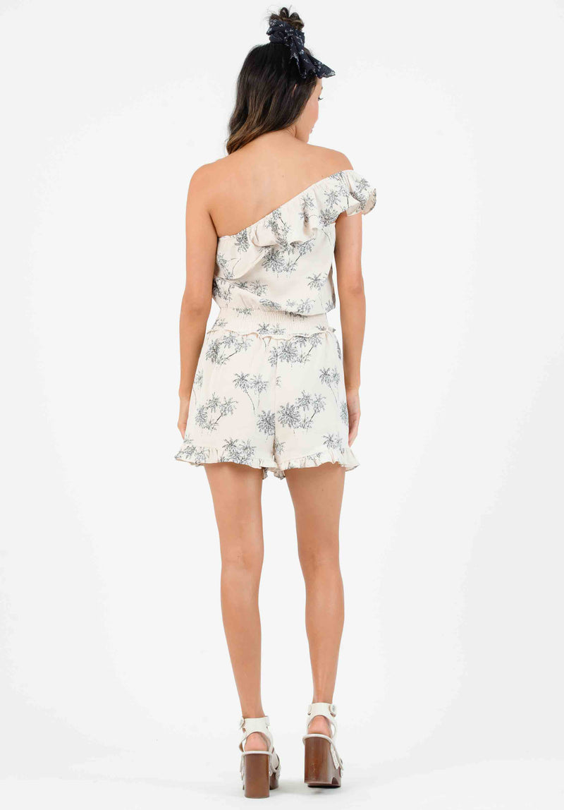 JOEY ONE SHOULDER RUFFLE ROMPER | SANDY PALM