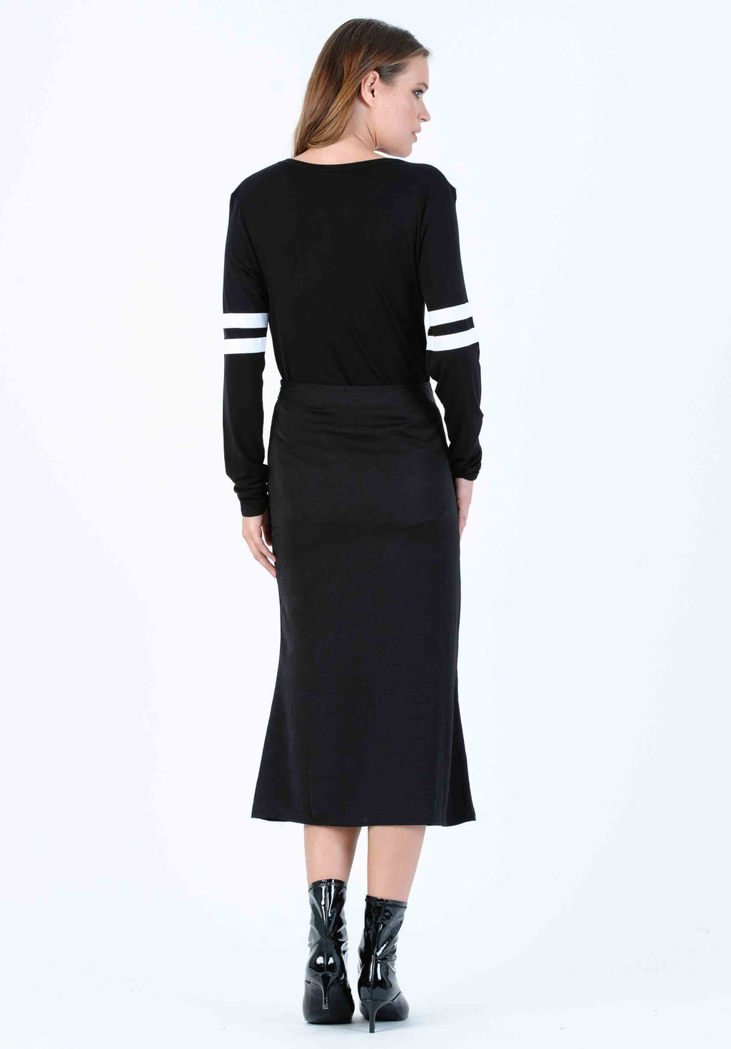 FROST MIDI SKIRT | BLACK SATIN